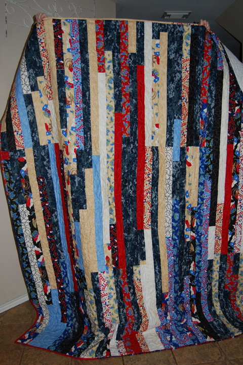 navy uniform strip quilt