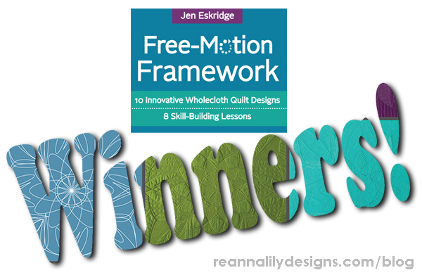 Free-Motion Framework Blog Hop Book Tour Prize Winners - Jen Eskridge - ReannaLily Designs