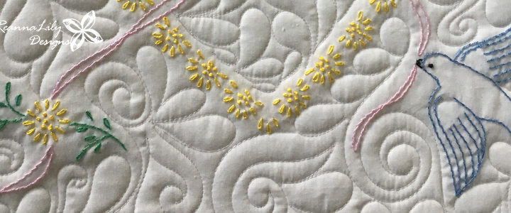 Vintage Hand-Embroidered Quilt