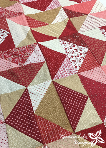 Fat Quarter Flying Geese Quilt | Jen Eskridge | ReannaLily Designs - made using Nancy Zieman's Garnet collection