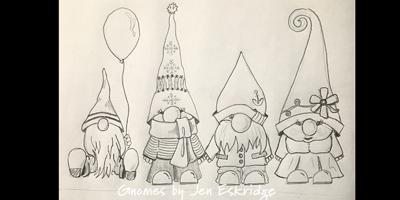 Gnomes Party of Four- by Jen Eskridge