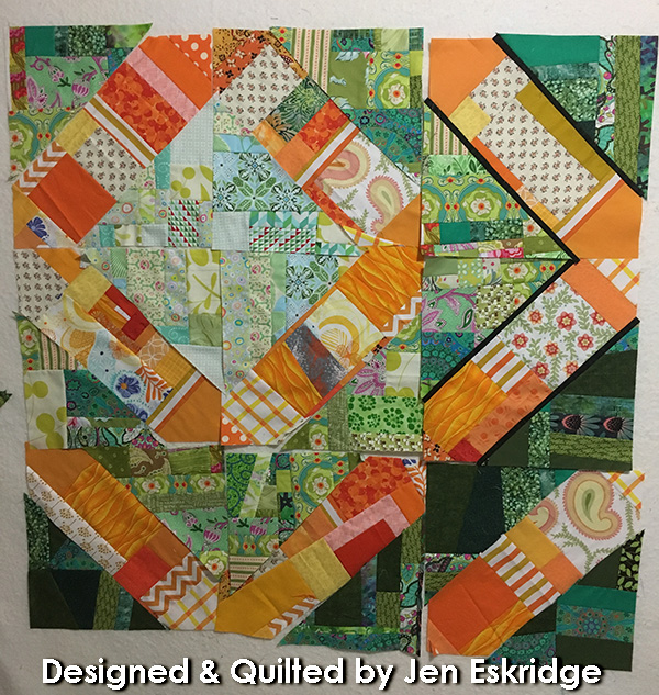 Green and orange scrap quilt by Jen Eskridge | ReannaLiy Designs | ReannaLily Quilts