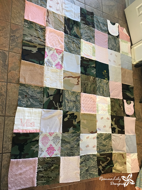 Military Retirement Quilt with Memory Quilt Squares | Recycled Uniforms | Jen Eskridge | ReannaLily Designs | ReannaLily Quilts