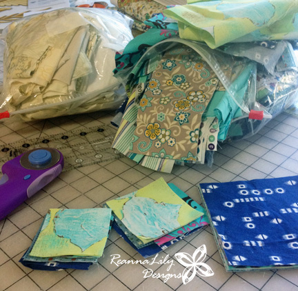 Fabric Scraps for Rising Star Quilt Block from Sister's Sampler Quilts