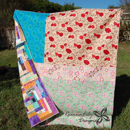 Scrappy Quarter Square Log Cabin | Jen Eskridge | Scrap Quilt | ReannaLily Designs | Quilt Back