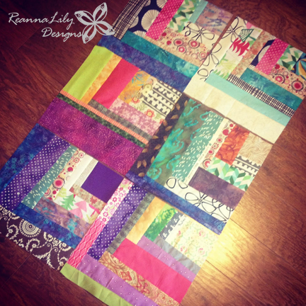 Scrappy Quarter Square Log Cabin | Jen Eskridge | Scrap Quilt | ReannaLily Designs | Design Wall