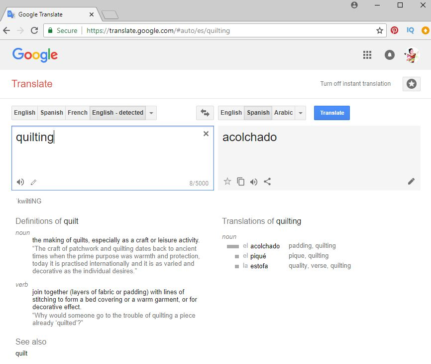 Google Translate Quilting to Spanish