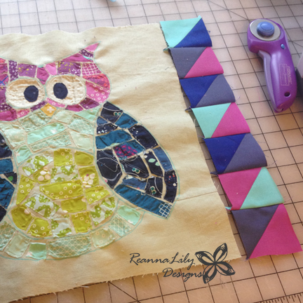 Half Square Triangle Border | Ticker Tape Owl Quilt | ReannaLily Designs | Jen Eskridge