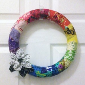 Mod Podge Fabric Wreath- Fabric Scrap Project