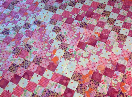 Pink Scrappy Trip Along Quilt